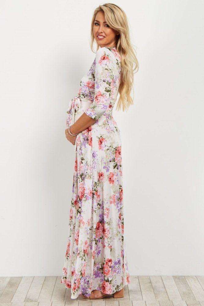 9aa42d1269a White Floral Wrap Maxi Dress | Baby shower | Wrap dress floral ...