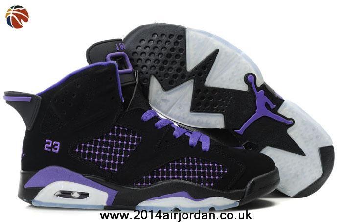 New Women Air Jordan 6 (VI) Embroidery Black Purple Sale Online