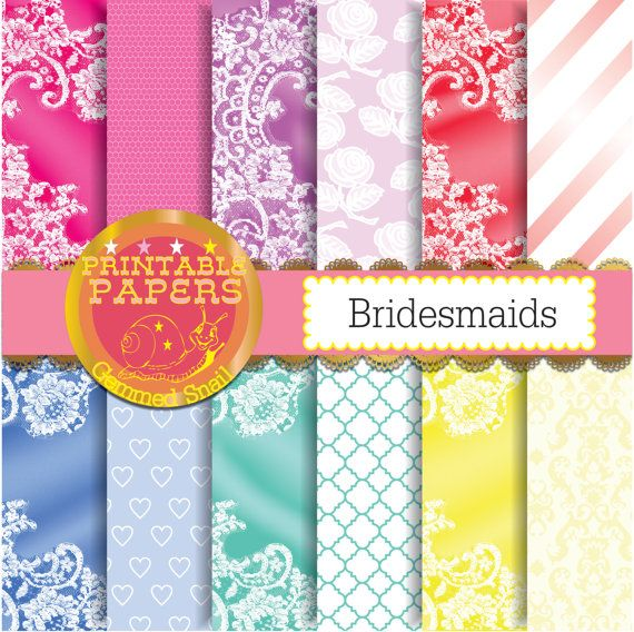 Lace digital paper Bridesmaids satin fabric lace backgrounds bridal shower 12 papers #etsymntt #digitalpaper