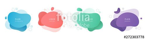 Red flat shape and green fluid blob blue liquid stain and violet geometric form Set of isolated abstract aqua spot with gradient or dynamic color Background for card or t...