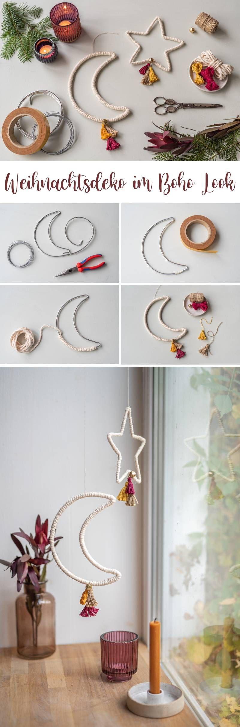 DIY Boho Weihnachtsdeko: Mond und Sterne mit Quasten zum Aufhängen - Leelah Loves