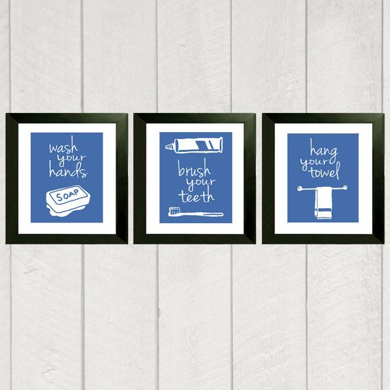 Bathroom Art Print   Set Of 3   Color   8x10