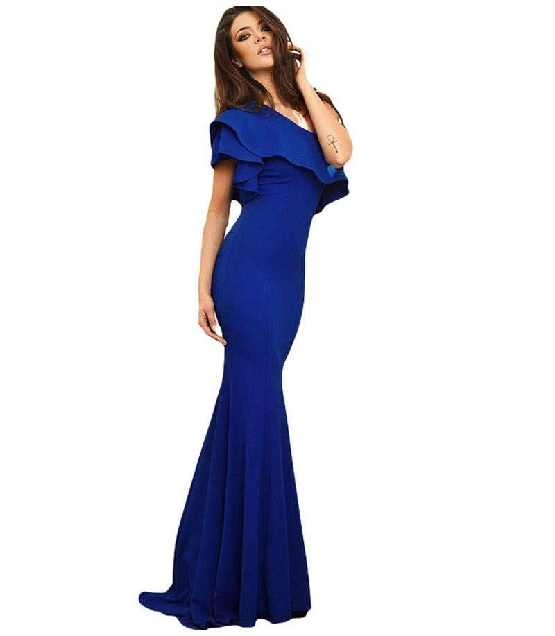 2f40bf4f469 Κομψό μάξι φόρεμα με ενα ώμο-μπλέ ρουά | ΒΡΑΔΙΝΑ ΦΟΡΕΜΑΤΑ | Formal ...