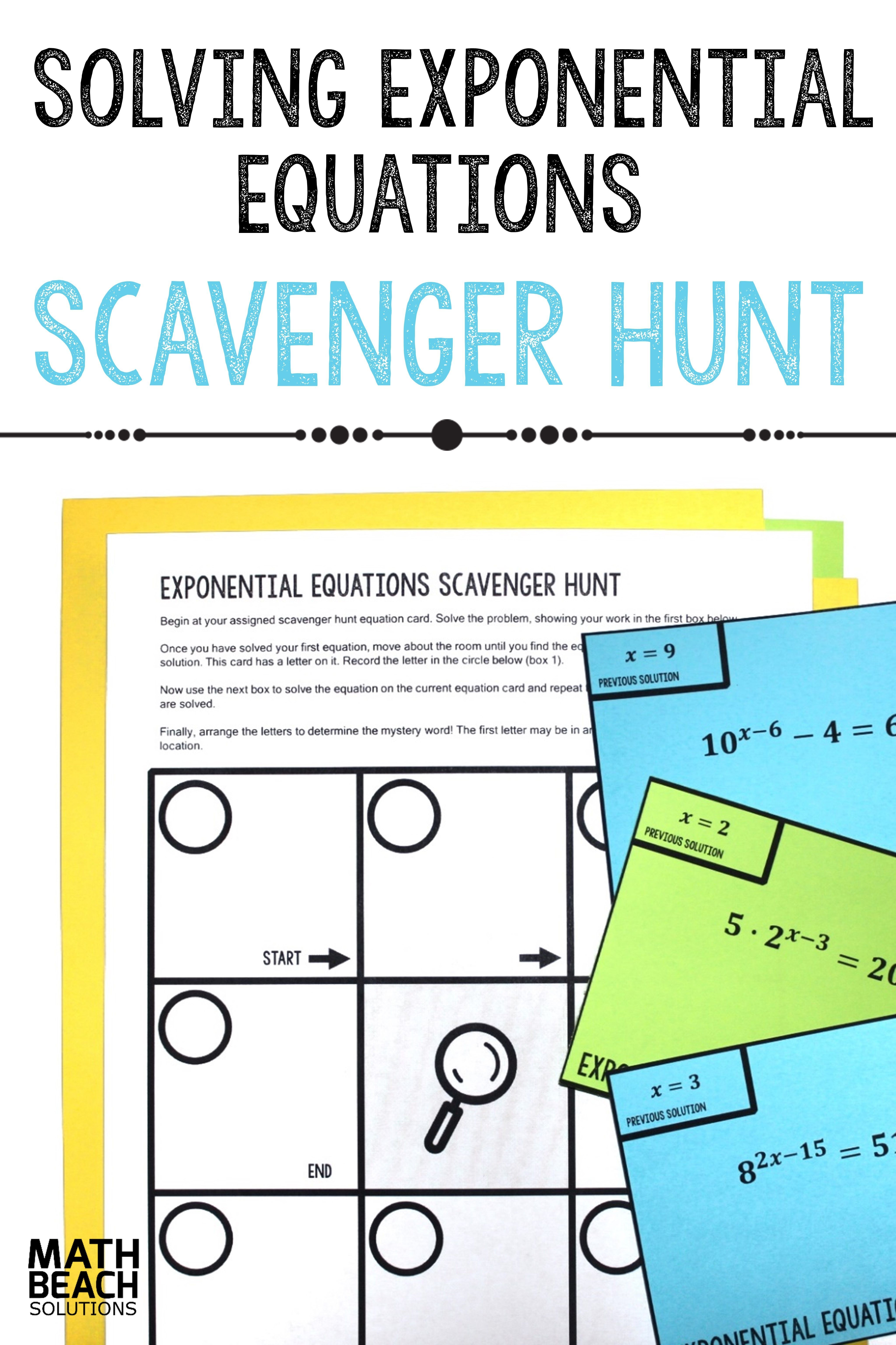 Solving Exponential Equations Scavenger Hunt Activity