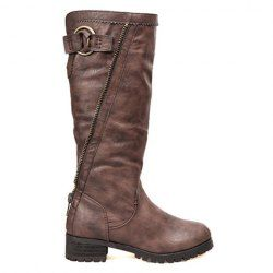 Casual Women's Knee High Boots With Solid Color and Zip Design (BROWN,39) | Sammydress.com