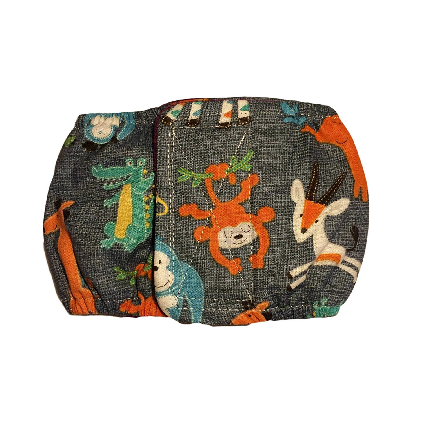 Male Dog Diaper Made in USA Jungle Buddies on Gray
