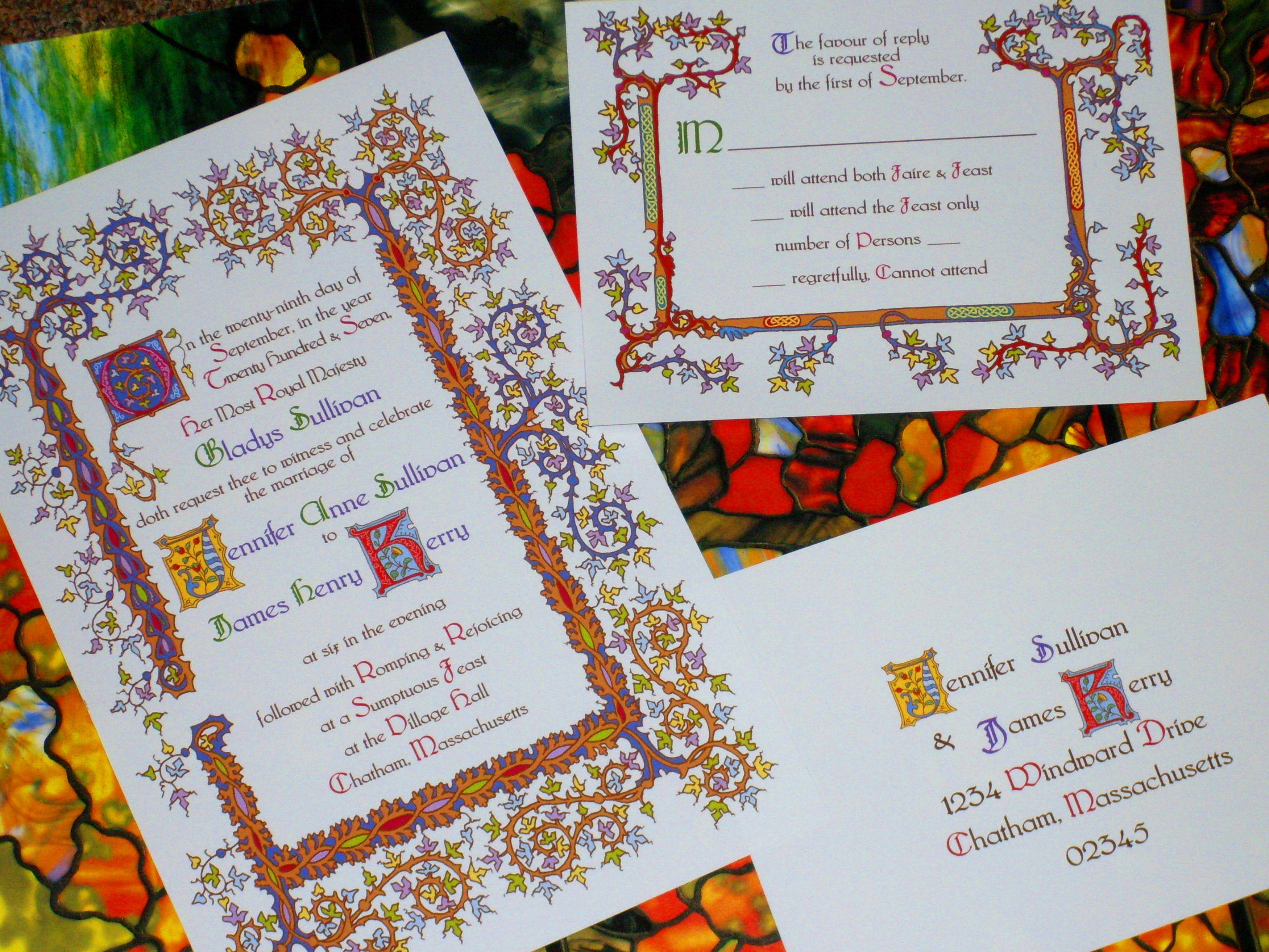 custom wedding invitations for theme weddings renaissance weddings medieval weddings - Medieval Wedding Invitations