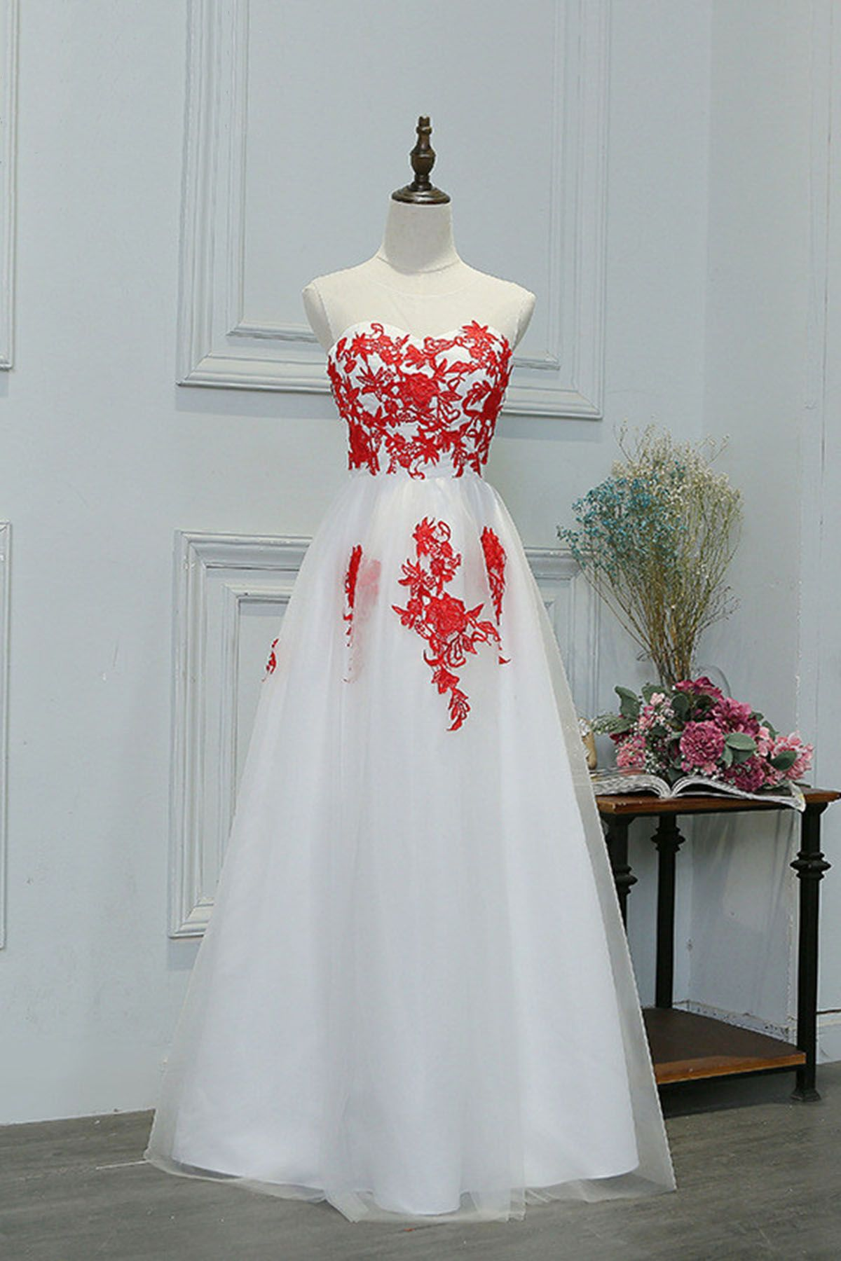 Simple white tulle long prom dress with red lace appliques