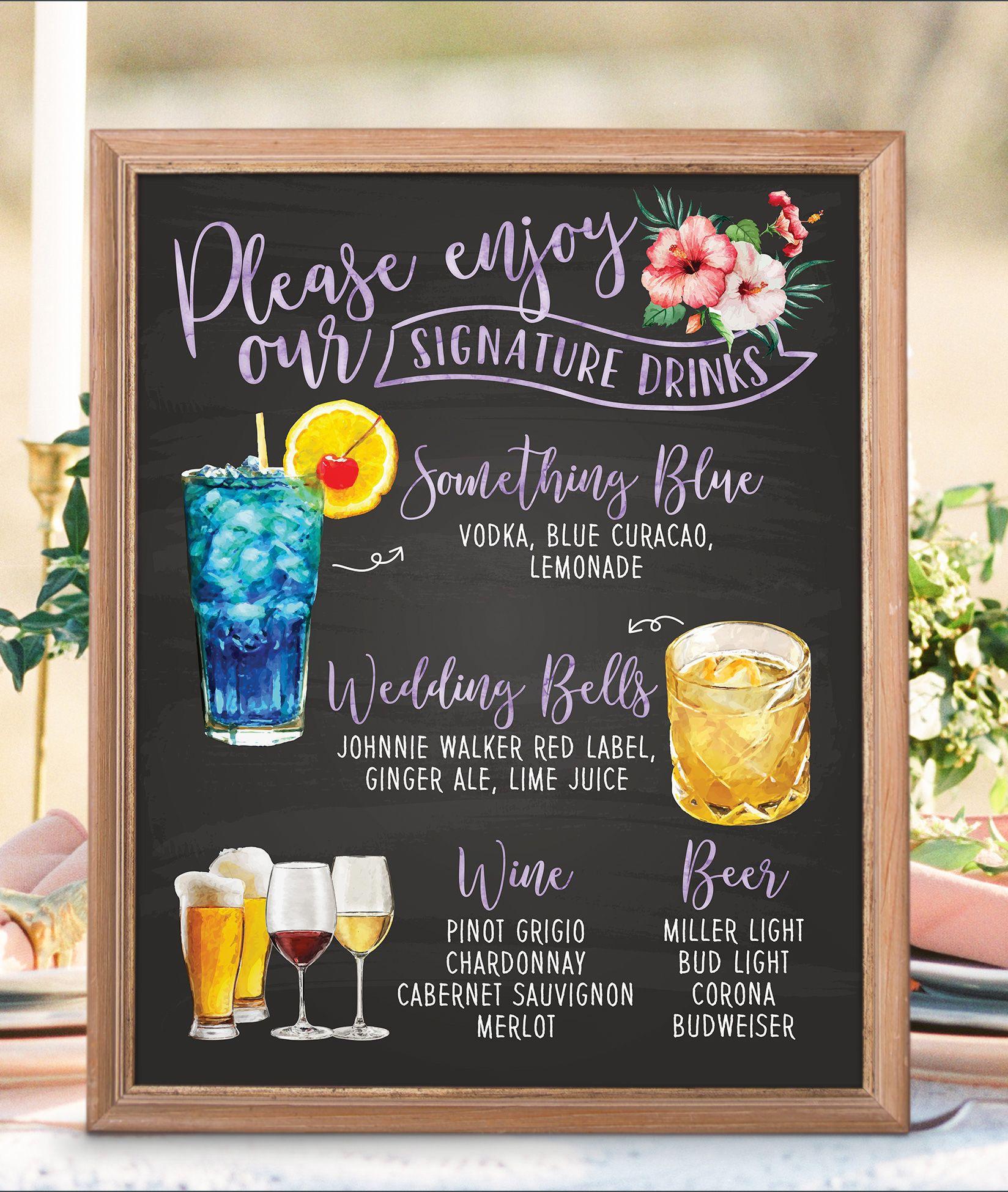 Digital Printable Wedding Bar Menu Sign, Signature Drinks