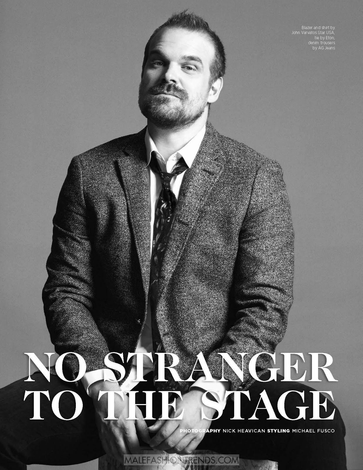 David Harbour, actor de la popular serie Stranger Things es capturado a blanco y negro por Nick Heavican para DAMAN Magazine