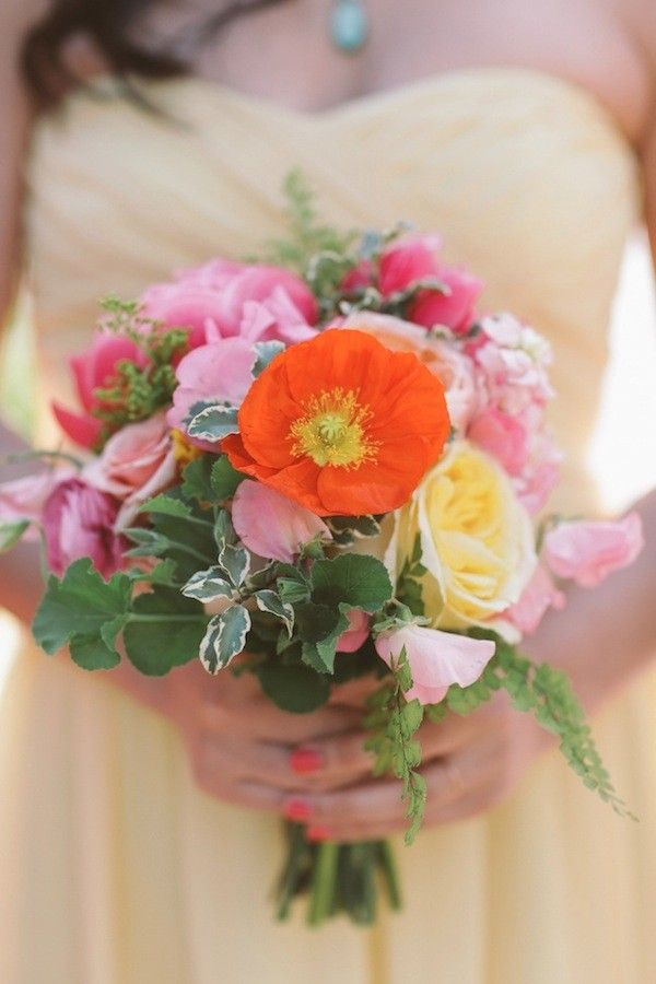 bright and colorful bridesmaid bouquet #colorfulwedding