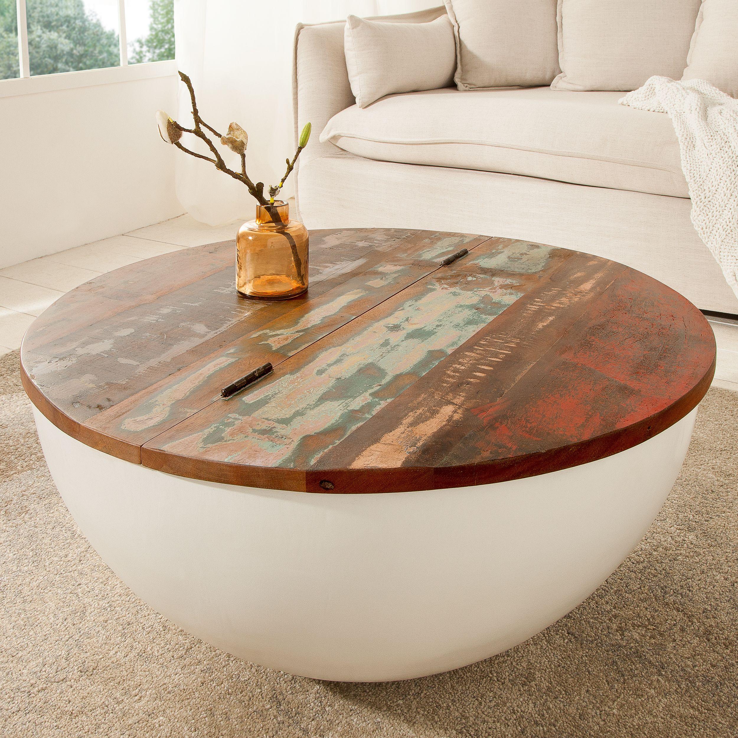 Design Couchtisch Jakarta 70cm Weiss Rund Aus Recycelten