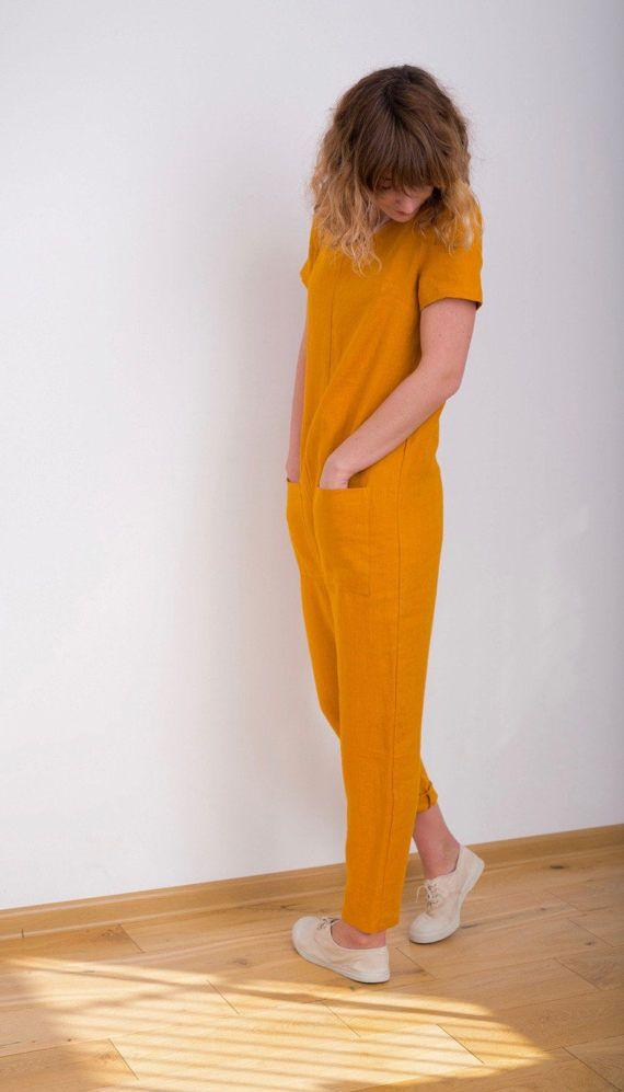 f3ef5d21bc5a Linen Jumpsuit - Mustard Jumpsuit - Short Sleeve Jumpsuit - Women ...