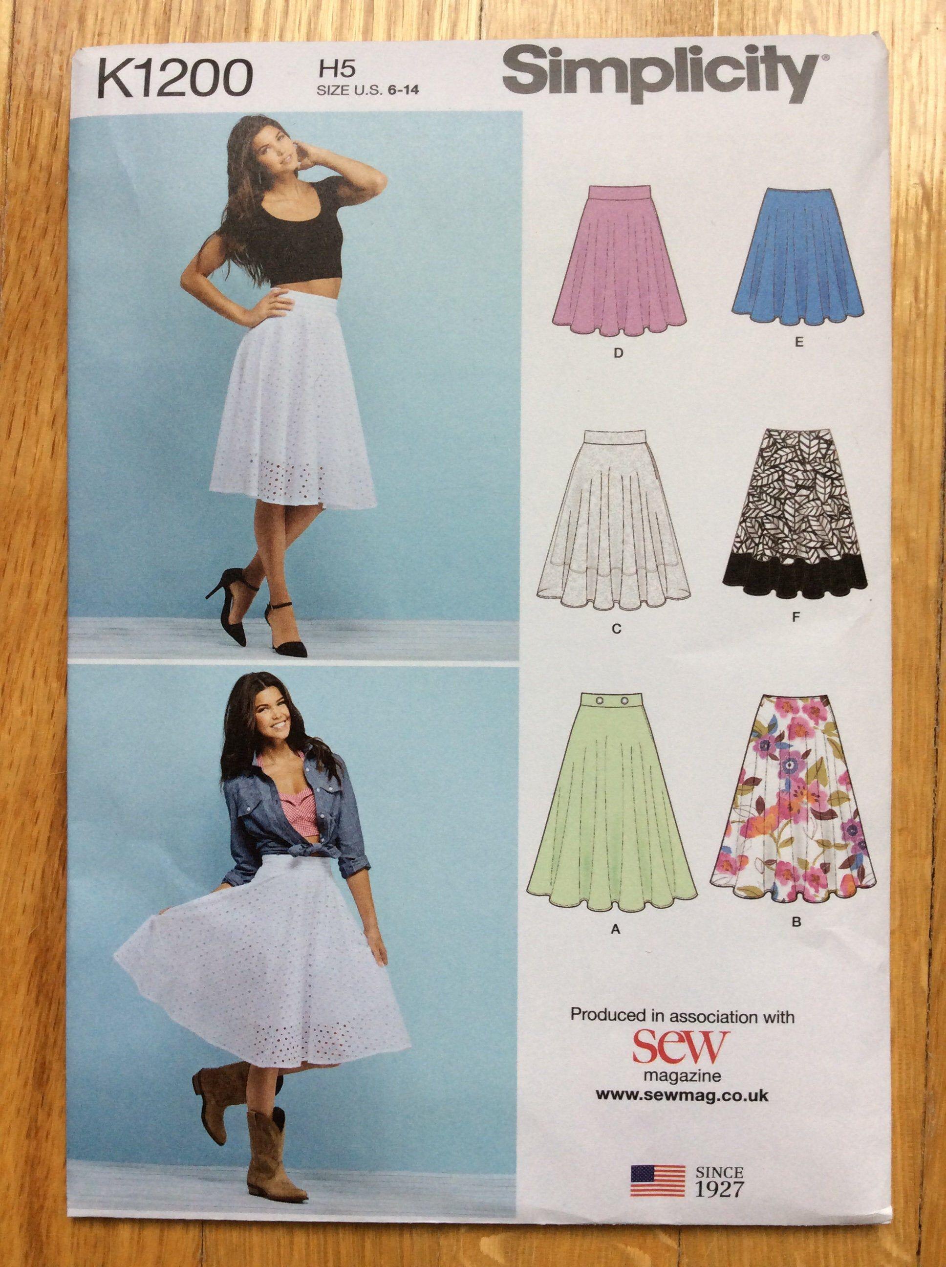 Circle Skirt Pattern Sizes 6 8 10 12 14 UNCUT Simplicity ...