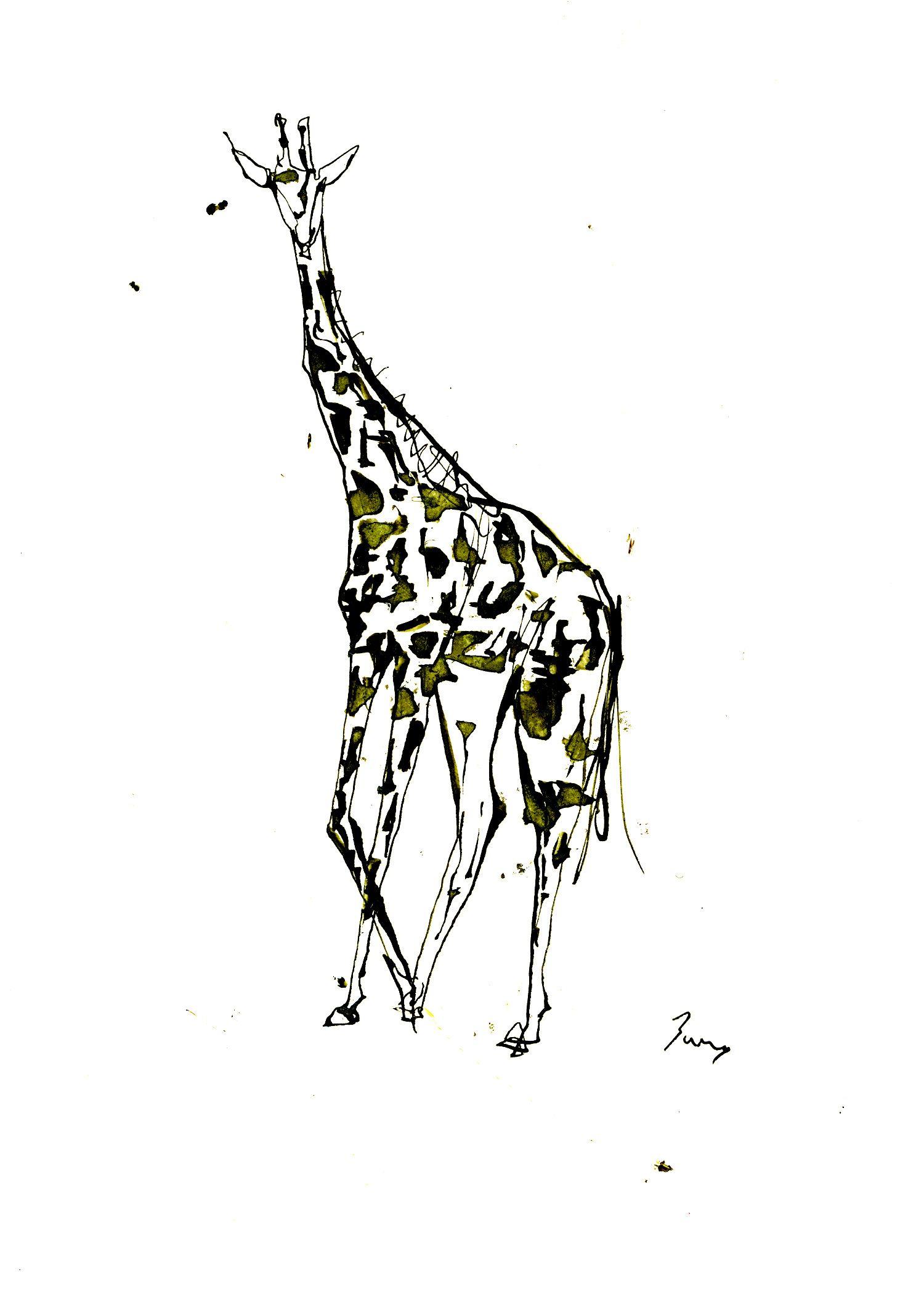 キリン イラスト キリン アート ドローイング インク ペン シンプル 動物 シンプル Illustration Giraffe Art Drawing Ink Pen Simple Animal Junsasaki キリンアート キリン イラスト