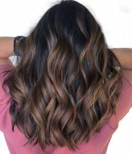 18+ Ideas Hair Color Black Highlights Caramel Balayage #caramelbalayage