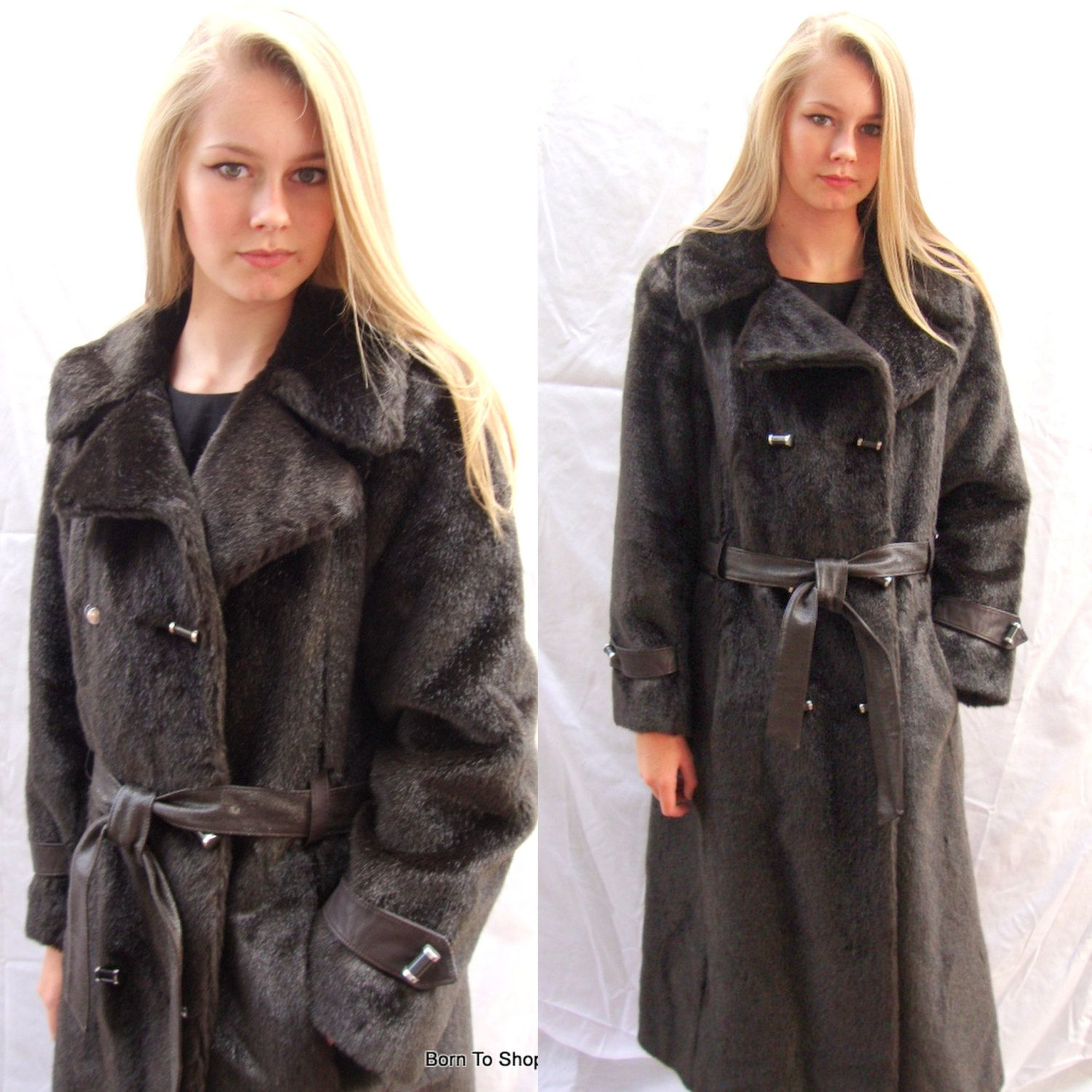 6009b93a86218 60s 70s, vintage faux fur coat, dark brown, faux fur trench coat ...