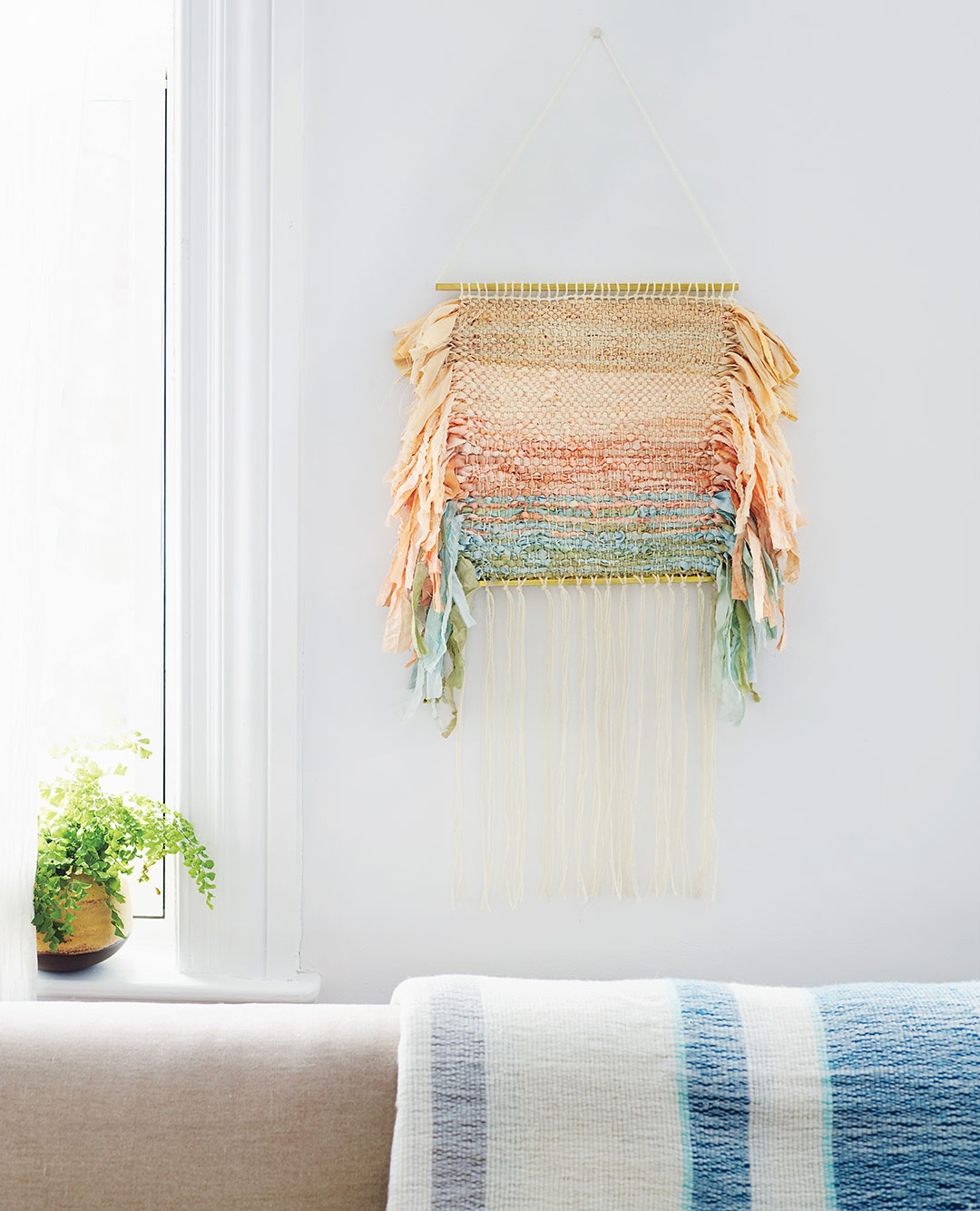 How To Make A Fabric Strip Wall Hanging Using A Yarn Wall