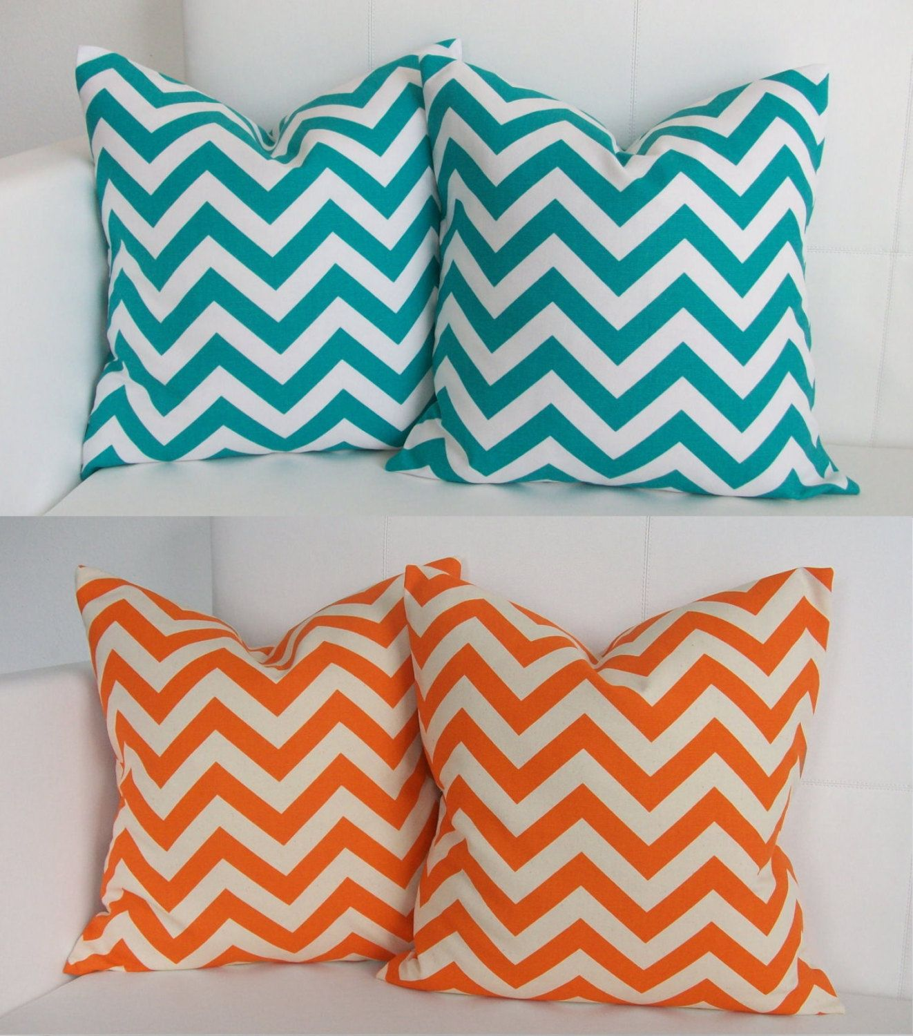 Decorative Throw Pillows Etsy : Four Turquoise and Orange Decorative Accent Throw Pillow Covers for Pillows Four. $70.00, via ...