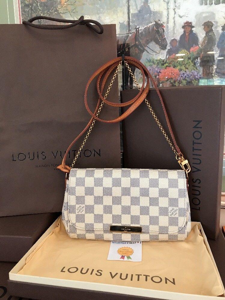 da718178 ❤Dust Bag❤Box❤ Favorite PM❤Damier Azur Louis Vuitton N41277 ...
