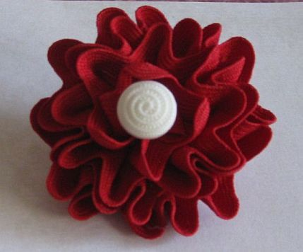 Ruby Red~ATCTTeam Dark Red Ric Rac Flower Barrette by HandmadeByBette on Etsy