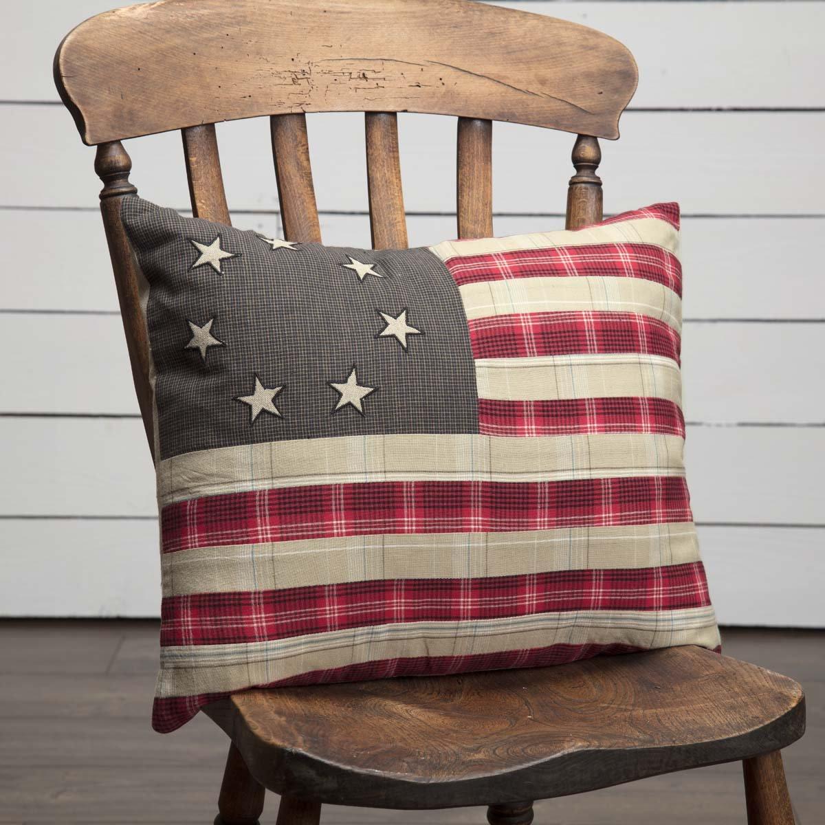 Liberty Stars Flag Pillow Pillows Primitive Bedding Throw Pillows