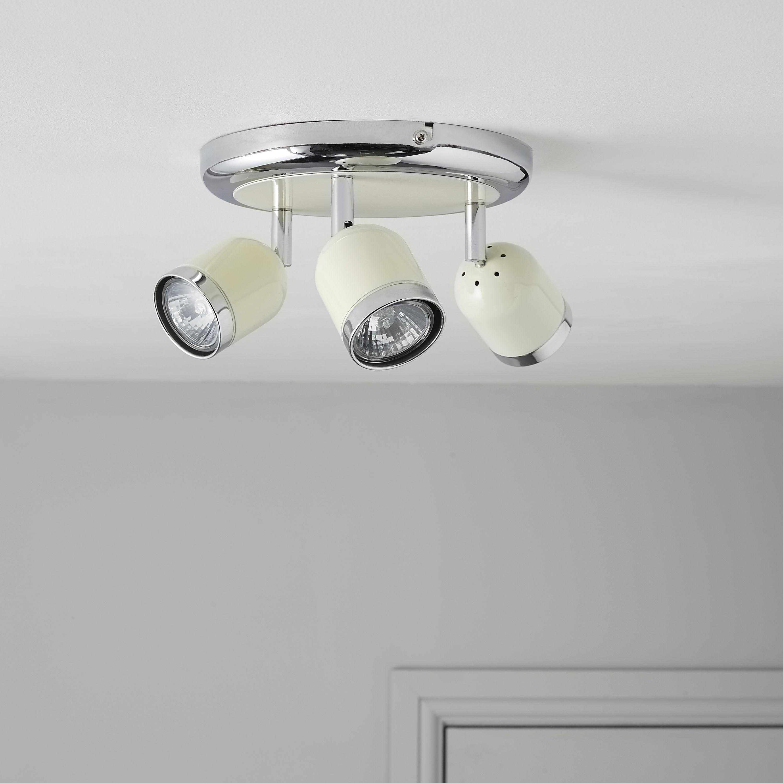 Edge Retro Cream Chrome Effect 3 Lamp Round Spotlight | Departments ...