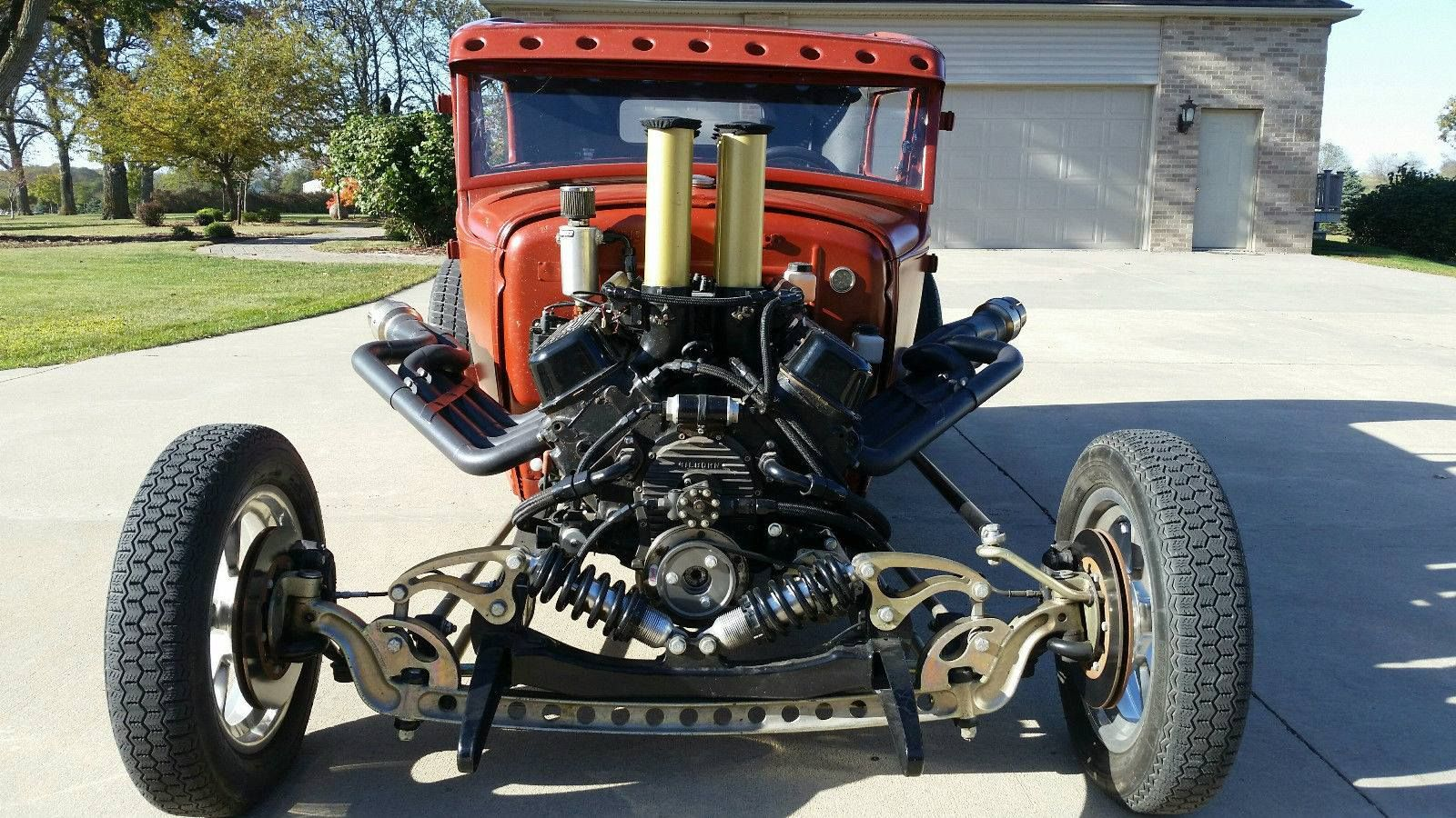 chevy small block powered vintage hotrod pickup with inboard