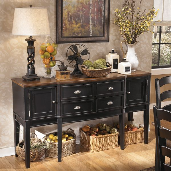 Signature design by ashley 39 owingsville 39 black brown for Dining room buffet table decorating ideas