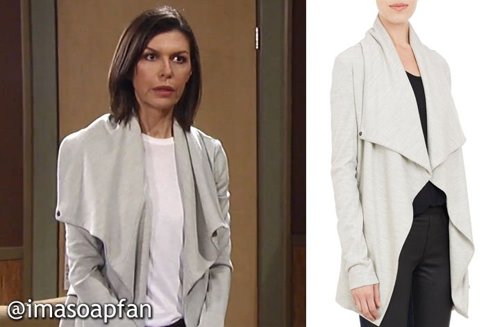 6d20e42c15f41 I m a Soap Fan  Anna Devane s Light Grey Asymmetrical Jacket - General  Hospital
