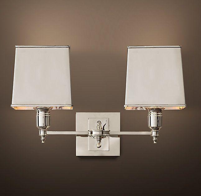 Master bath lighting claridge double sconce with metal shade fox master bath lighting claridge double sconce with metal shade aloadofball Gallery