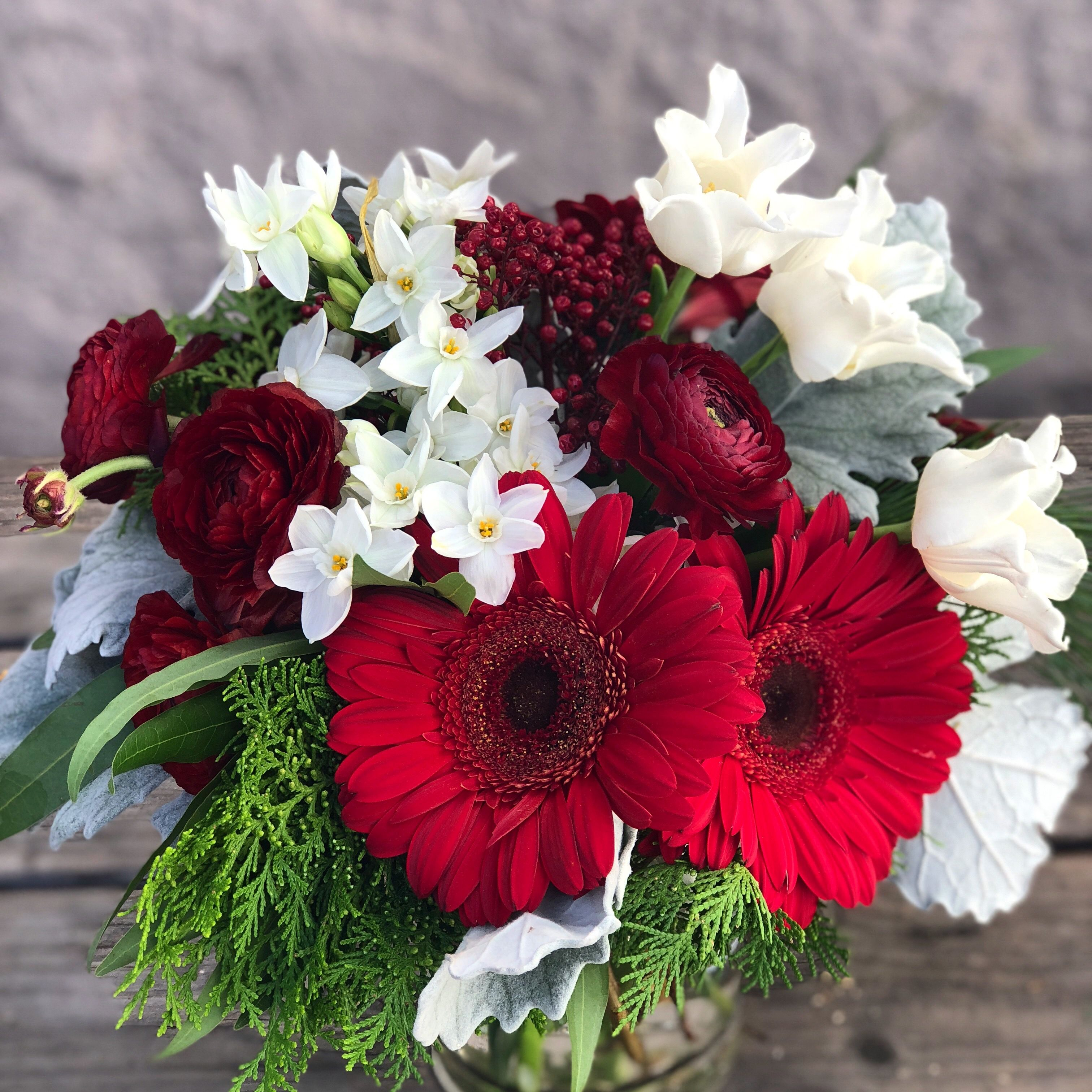 Small Red and White Christmas Flower arrangement
