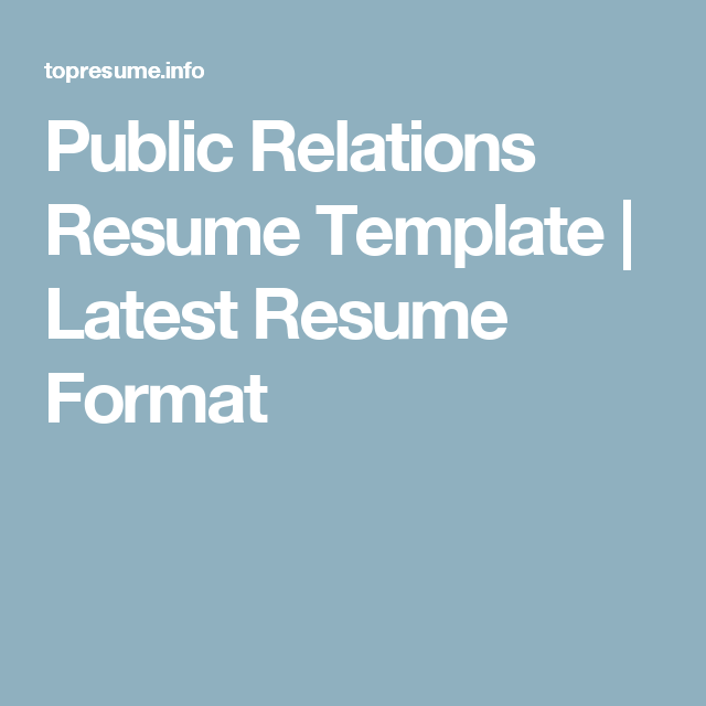 public relations resume template