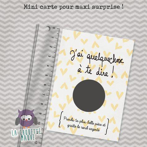 mini carte à gratter pour une annonce de grossesse originale