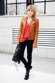Brown Leather Jacket Outfit | fashionstar.xyz | Pinterest
