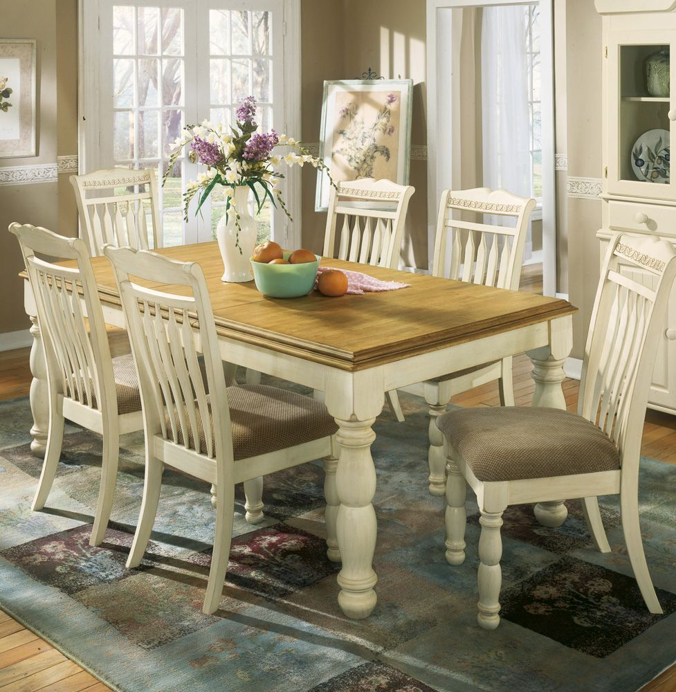 Home Gallery Furniture For White 7 Pc Cottage Retreat Rectangular Extension Table Dining Room Set