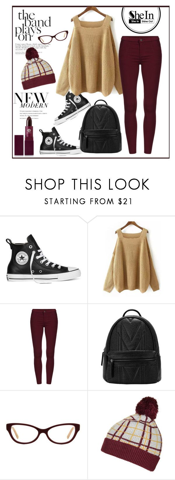 """""""SHEIN Khaki Off Shoulder Knit Loose Sweater - Contest"""" by biange ❤ liked on Polyvore featuring Converse, Tory Burch, Topshop and Lipstick Queen"""