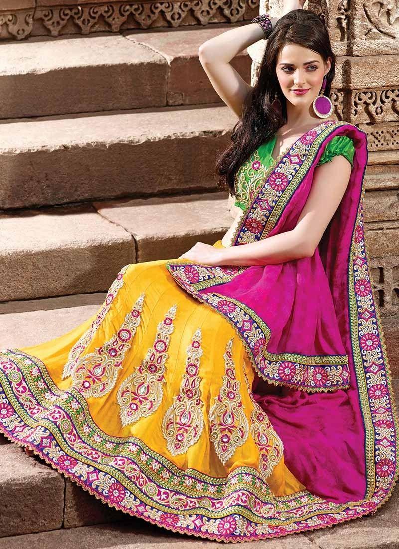 majestic-pink-and-yellow-lehenga-saree