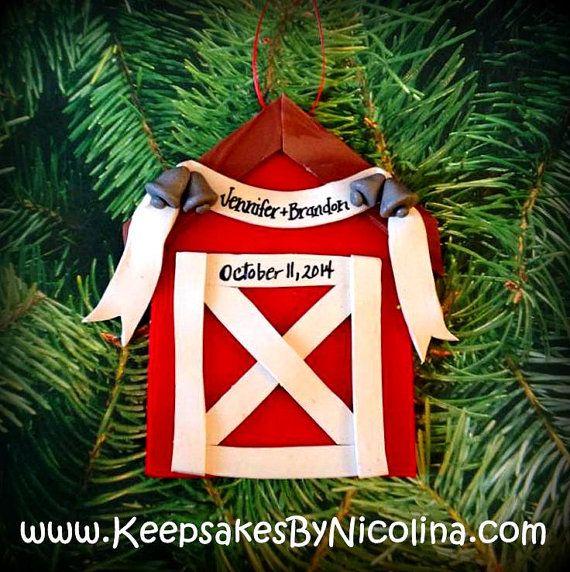 Personalized Barn / Farm Wedding Christmas Ornament by ...