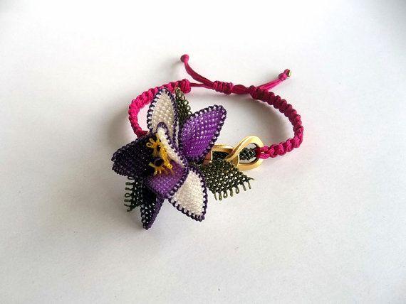 Macrame pulsera pulsera de fibra encaje moda verano por GULDENTAKI