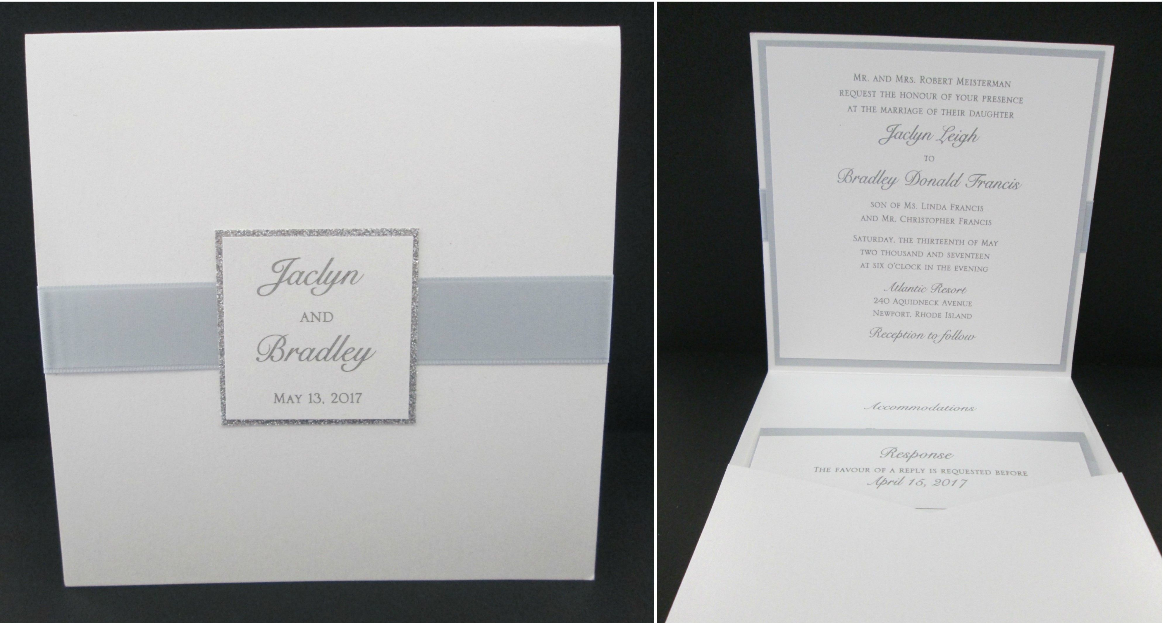 Booklet Pocket With Silver Accent Wedding Invitations Pinterest