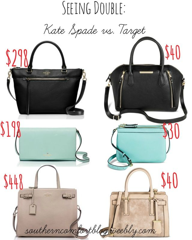 b95dca64ab8 Kate Spade Dupes!! Read all about it at southerncomfortblog.weebly.com  #katespade #purse #target #katespadedupe #dupe #cheap #save #splurge  #splugeorsave