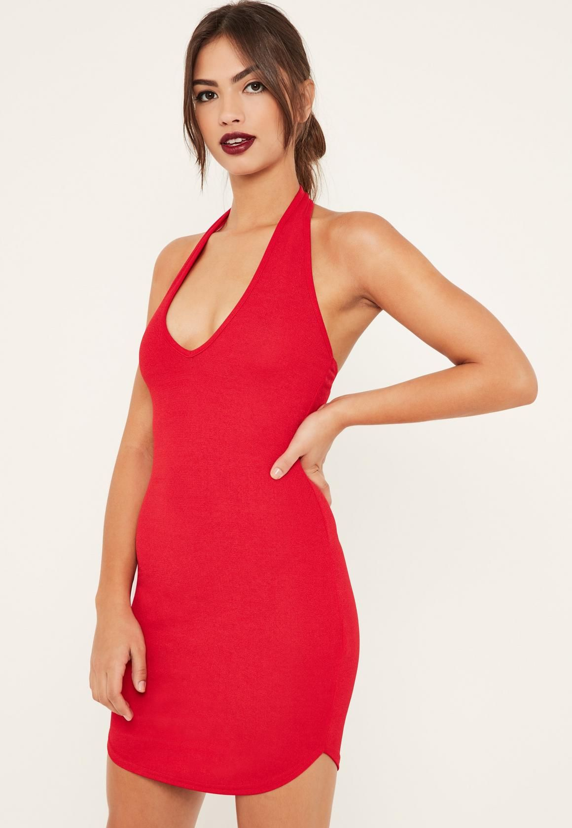 21606c650f Missguided - Red Halterneck Mini Dress
