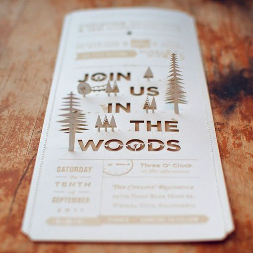 really beautifully designed wedding invitations quite intense using laser cutting stamping sewing - Camping Wedding Invitations