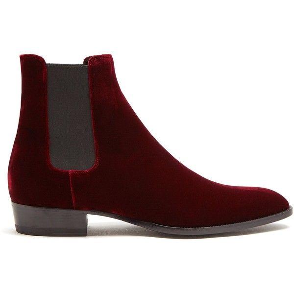 eabd71cca12e8a Saint Laurent Wyatt velvet chelsea boots (1,305 CAD) ❤ liked on Polyvore  featuring men's
