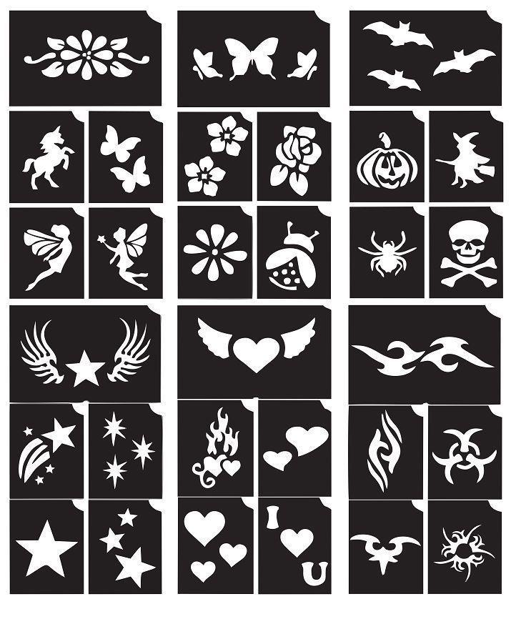 Mixed Stencil Packs Temporary Tattoo Glitter Henna Airbrush Body Art Stickers Glitter Tattoo Stencils Glitter Henna Stencil Template