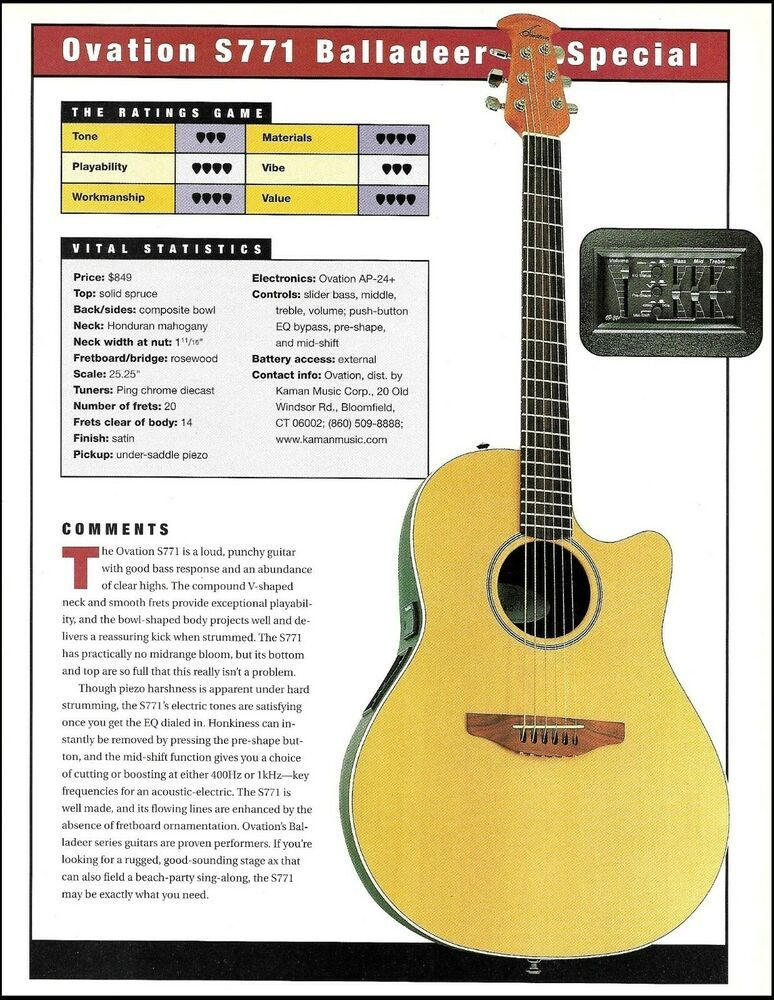 Ovation S771 Balladeer Seagull Sm6 Acoustic Guitar Review Article With Specs Ovationseagull Guitar Reviews Guitar Acoustic Guitar