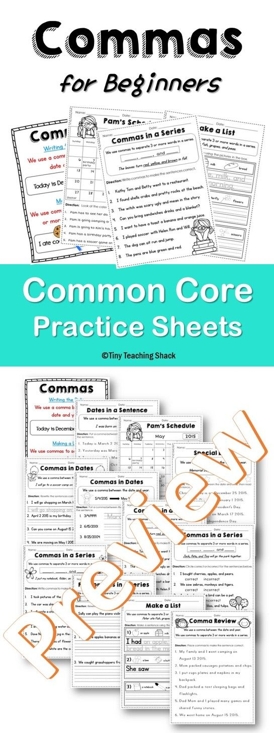 Commas for beginners- dates, in a series First Grade Common Core ...