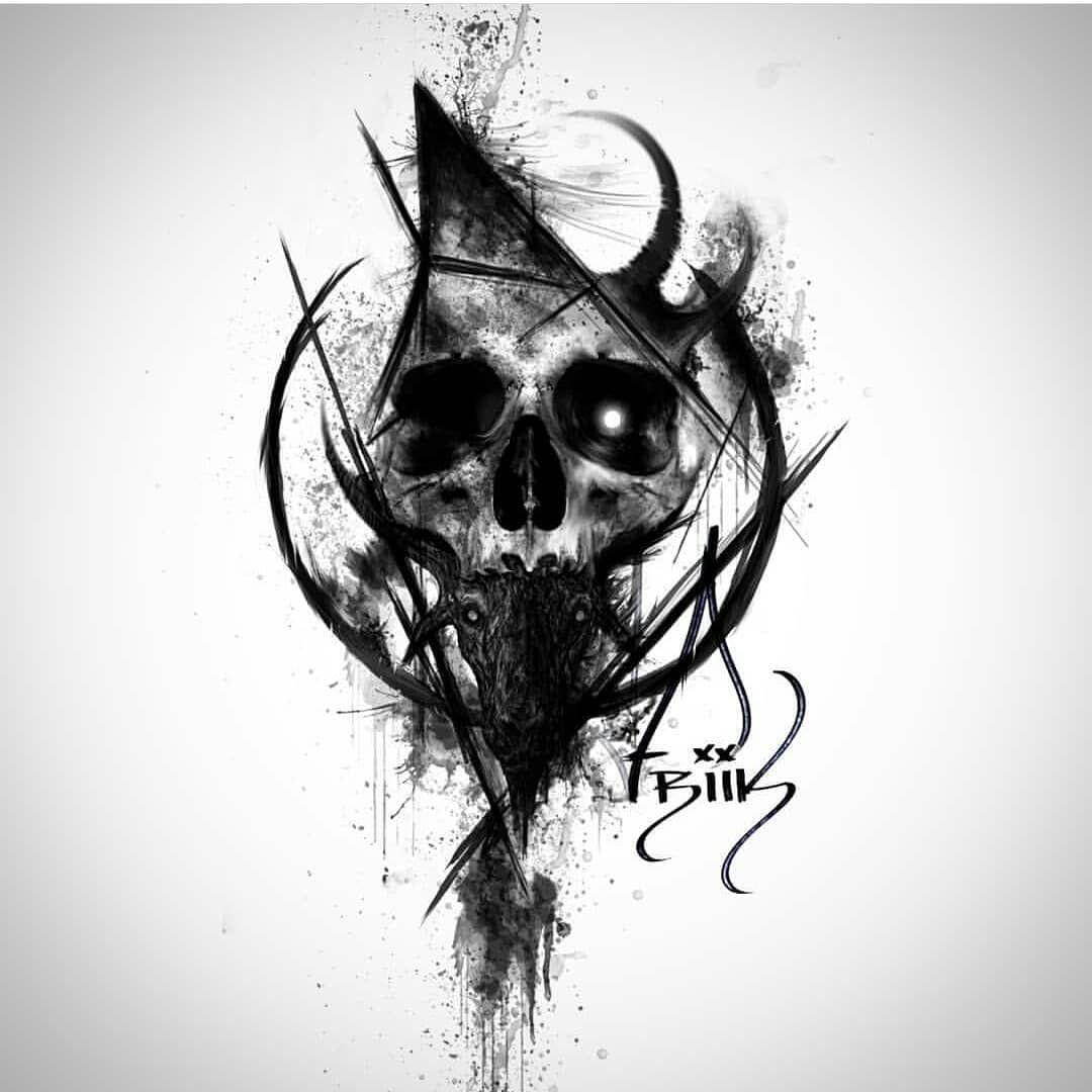 Art Isnt A Crime On Instagram Art Blackandwhite Black White Skull Friikdesign Caveiratattoo In 2020 Schadelkunst Schadel Armel Tatowierungen Kopf Tattoo