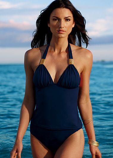 497b99c7c30181 Full back tankini, high waist bottom | Nautical Navy Blue ...